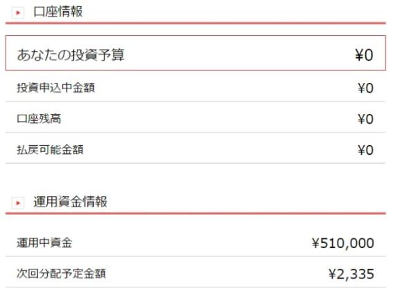 ラッキーバンクの資産管理画面